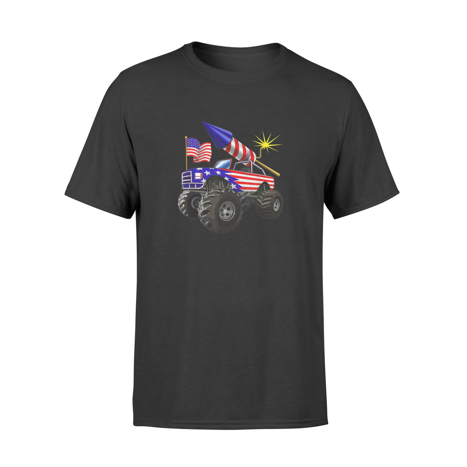 4th of July Monster Truck American Flag Funny Shirt - Standard T-shirt