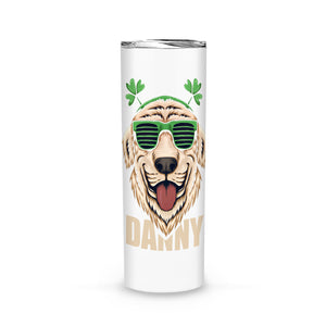 Personalized St. Patrick Gift Idea - Coolest Golden Retriever Dog - Tumbler