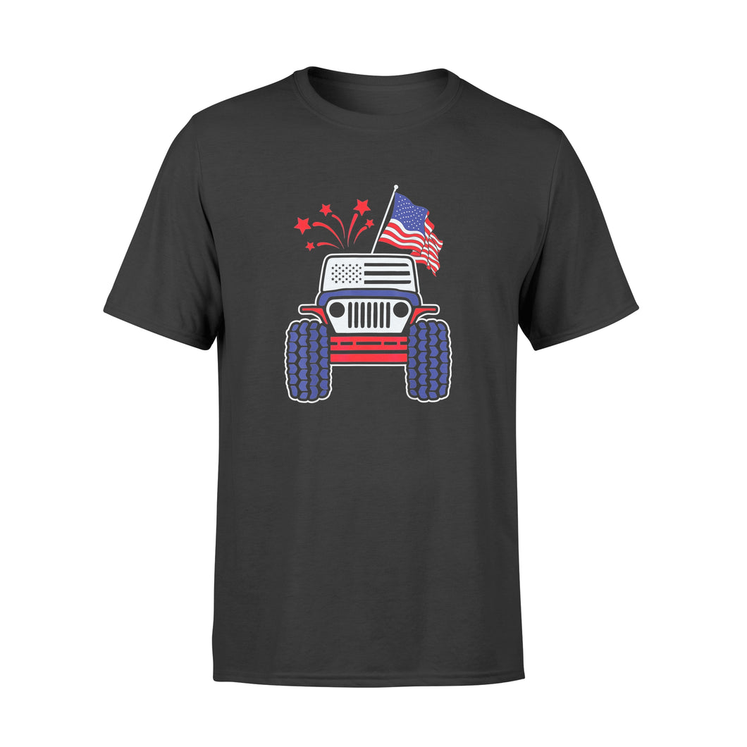 4th of July Jeep T-Shirt Jeep with American Flag & Firework Shirt - Standard T-shirt
