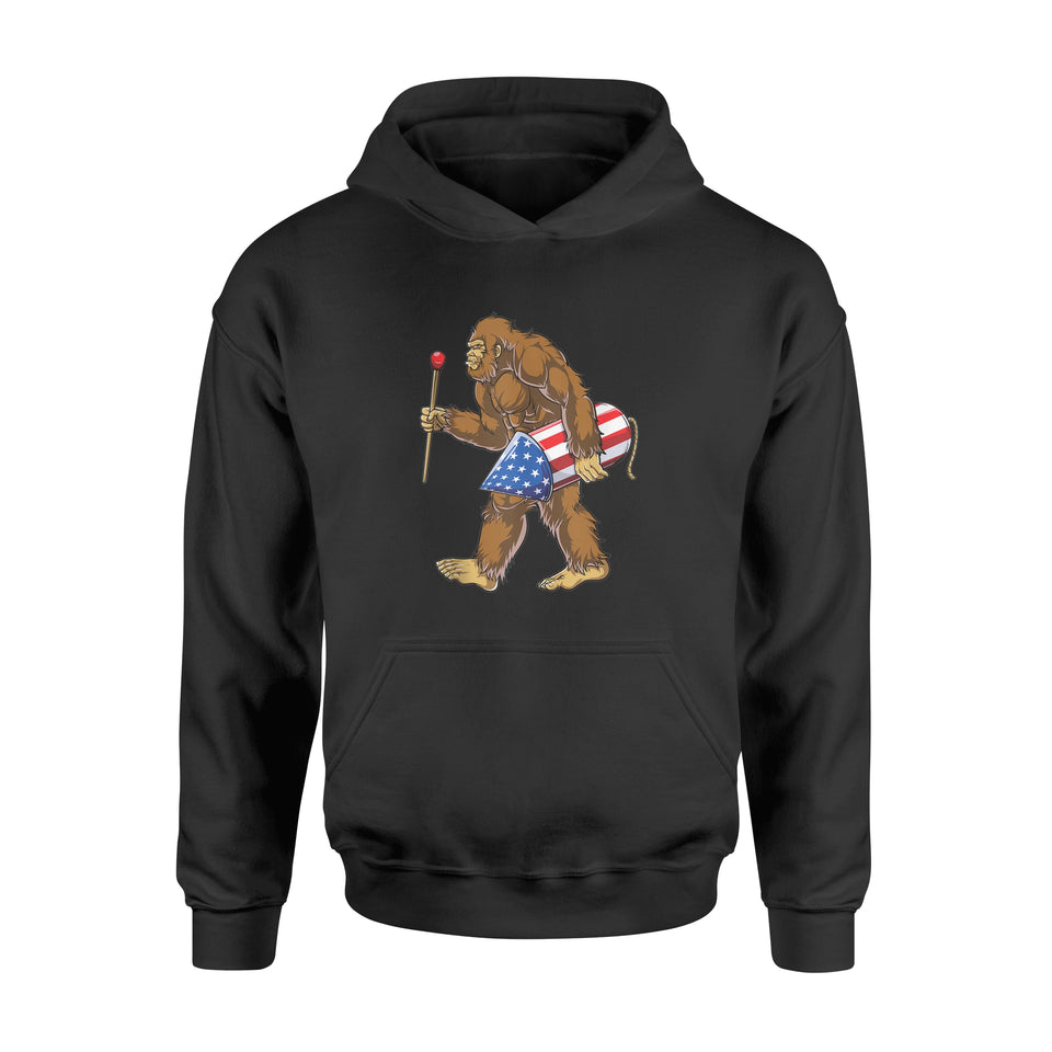 4th of July Bigfoot Fireworks American Flag Shirt - Standard Hoodie