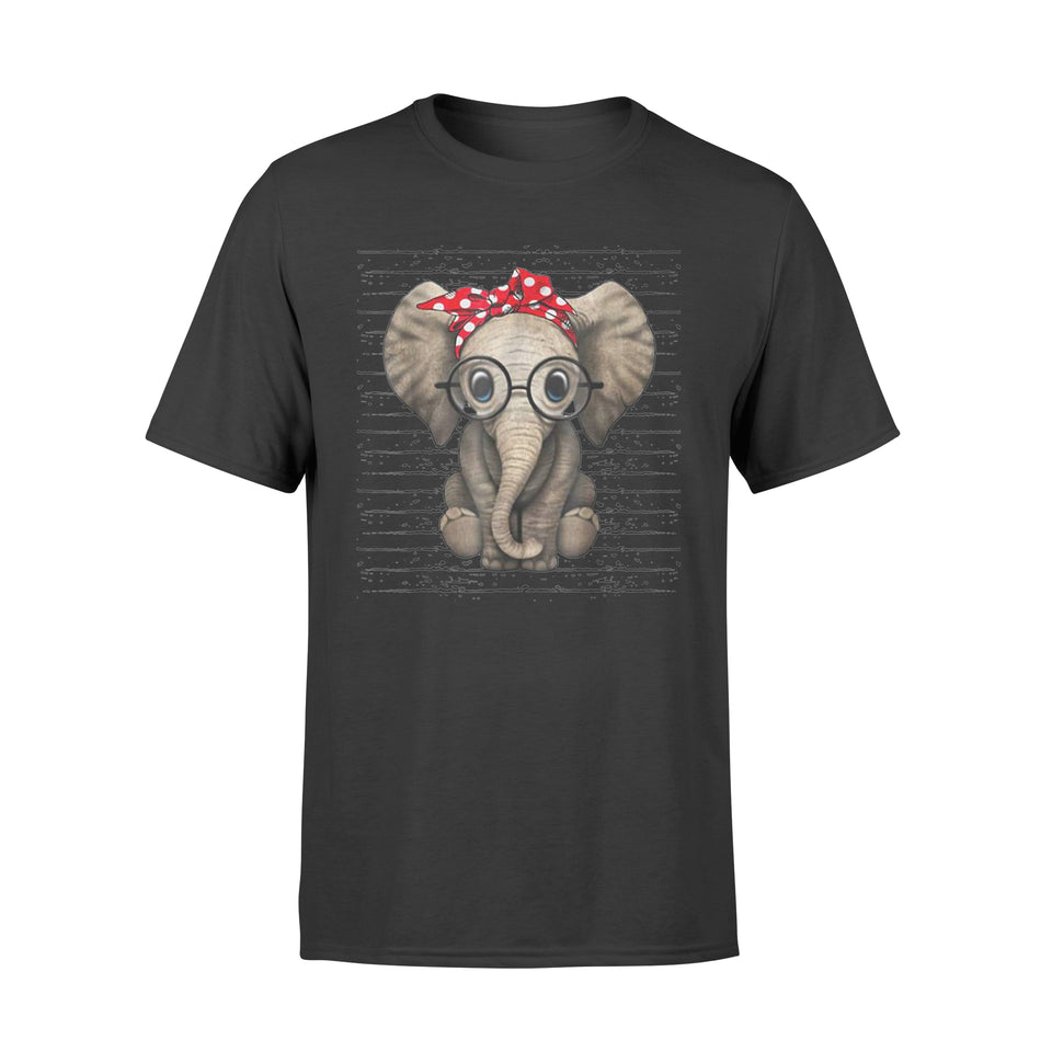 Elephants With Bandana Headband And Glasses T-Shirt - Standard T-shirt