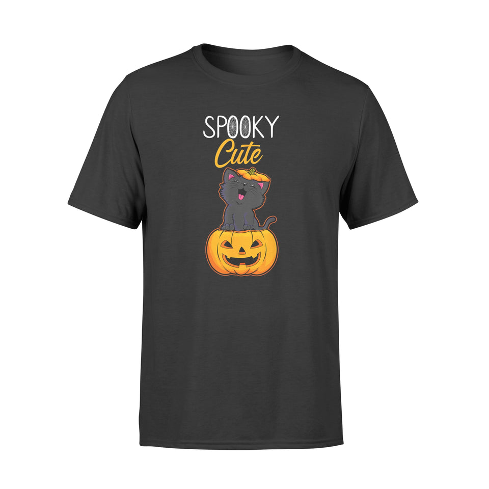 Halloween Pumpkin Shirt Spooky Cute Black Cat - Premium T-shirt