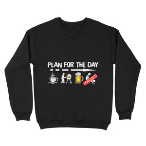 Gift Idea - Plan For The Day Shirt Coffee Bbq Grilling Beer Sex - Standard Crew Neck Sweatshirt