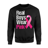 Awareness Cancer Gift Idea - Real Boys Wear Pink, Ribbon - Standard Fleece Sweatshirt