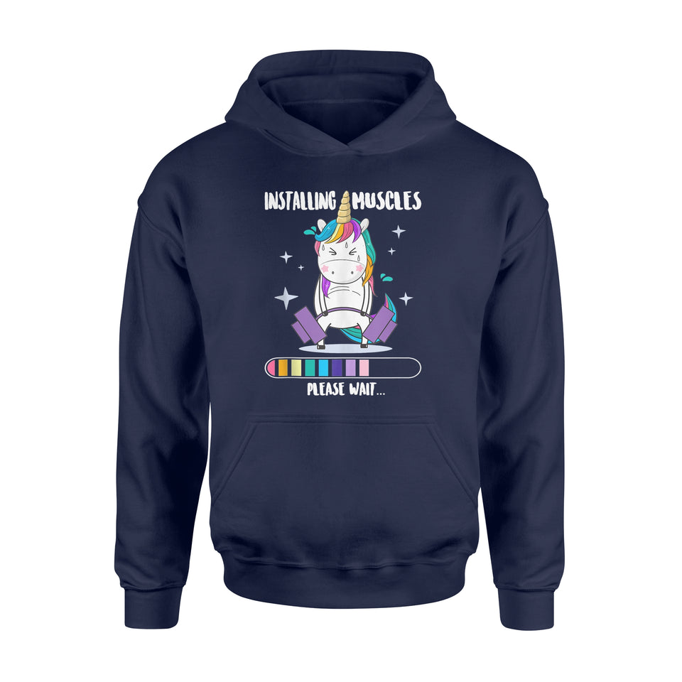 Installing Muscles Please Wait Shirt - Funny Unicorn Fitness - Standard Hoodie