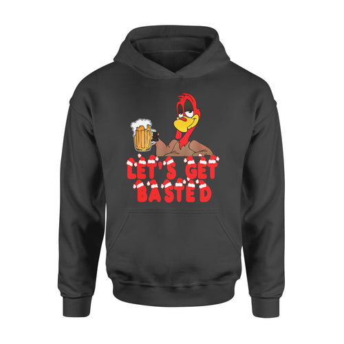 Christmas Gift Idea Funny Xmas Turkey Let's Get Basted Beer - Standard Hoodie