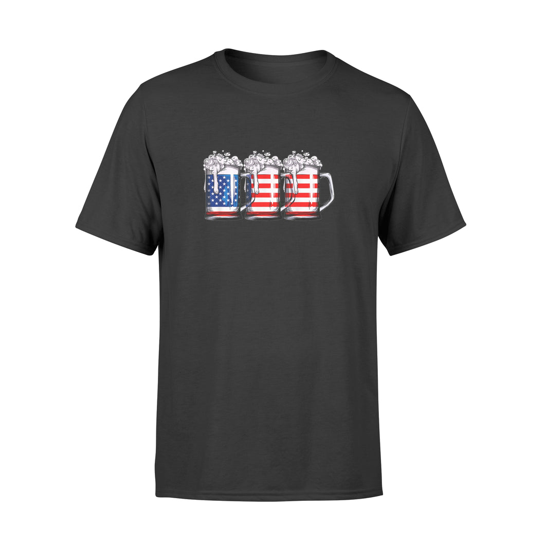 4th of July Shirts for Men Beer American Flag Shirt - Standard T-shirt