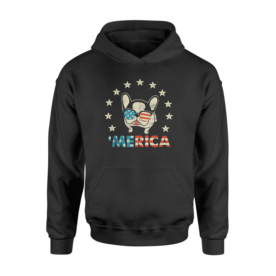 4th of July - Merica Frenchie USA Flag Dog - Standard Hoodie