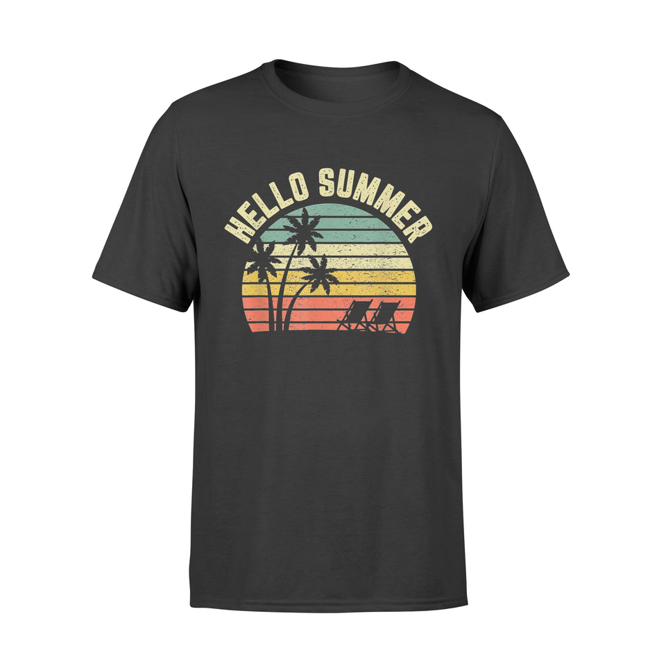 Hello Summer T Shirt Retro Sunset Beach Chairs Gift - Standard T-shirt