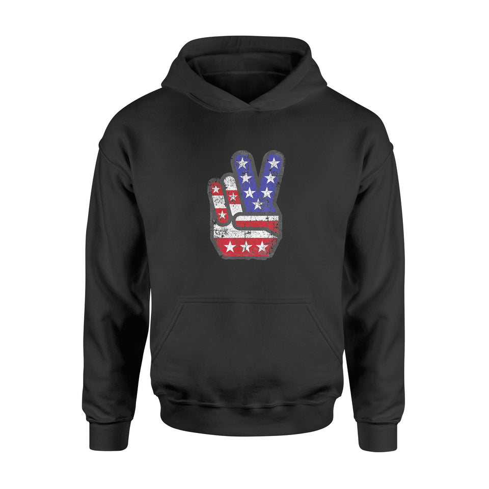 4th of July Shirt American Flag Peace Sign Hand Shirts - Standard Hoodie
