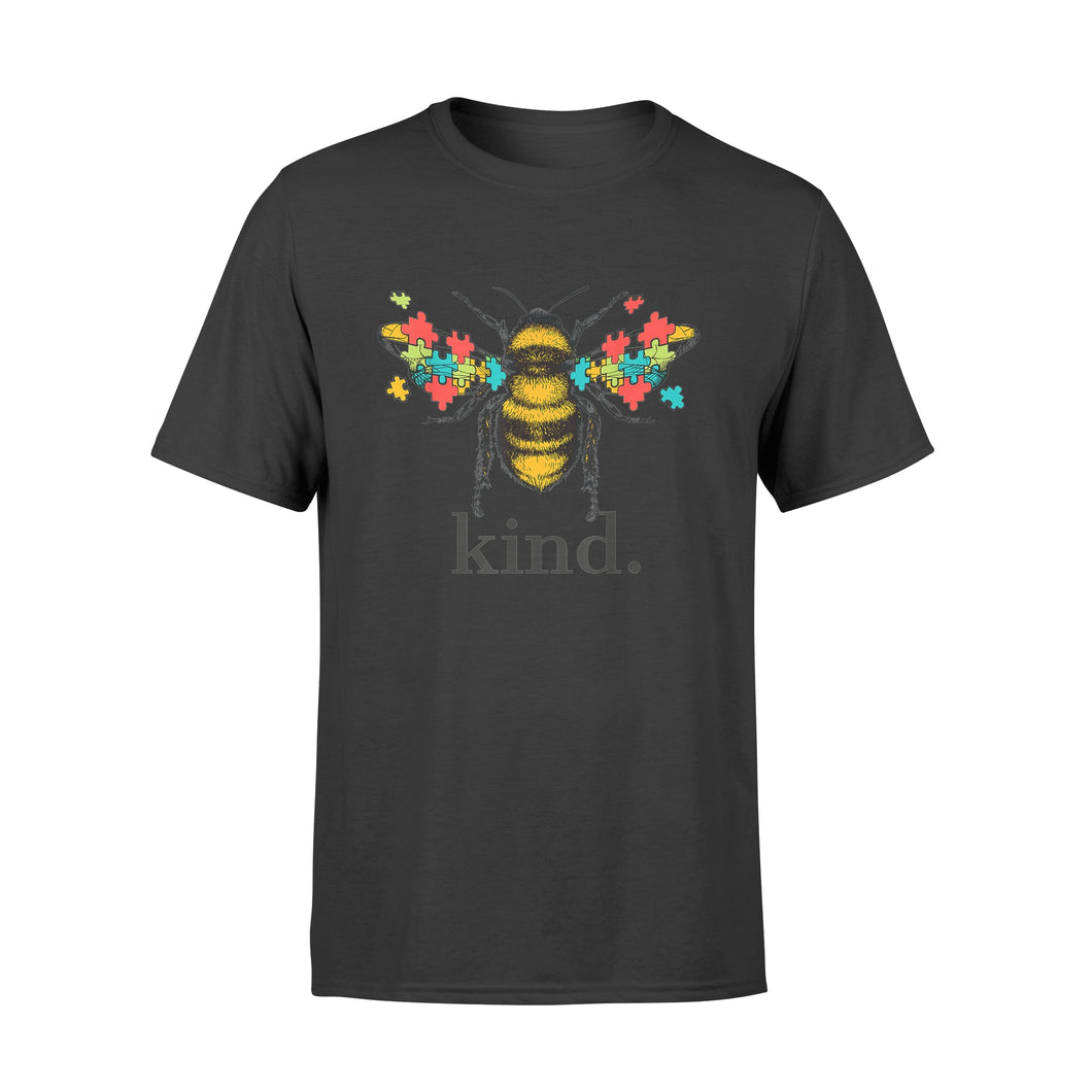 Autism Awareness Bee Kind Puzzle Pieces - Premium T-shirt