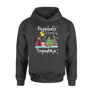 Christmas gift idea Happiness Is Being A Grandma Xmas Tree Leopard Plaid T-Shirt - Standard Hoodie