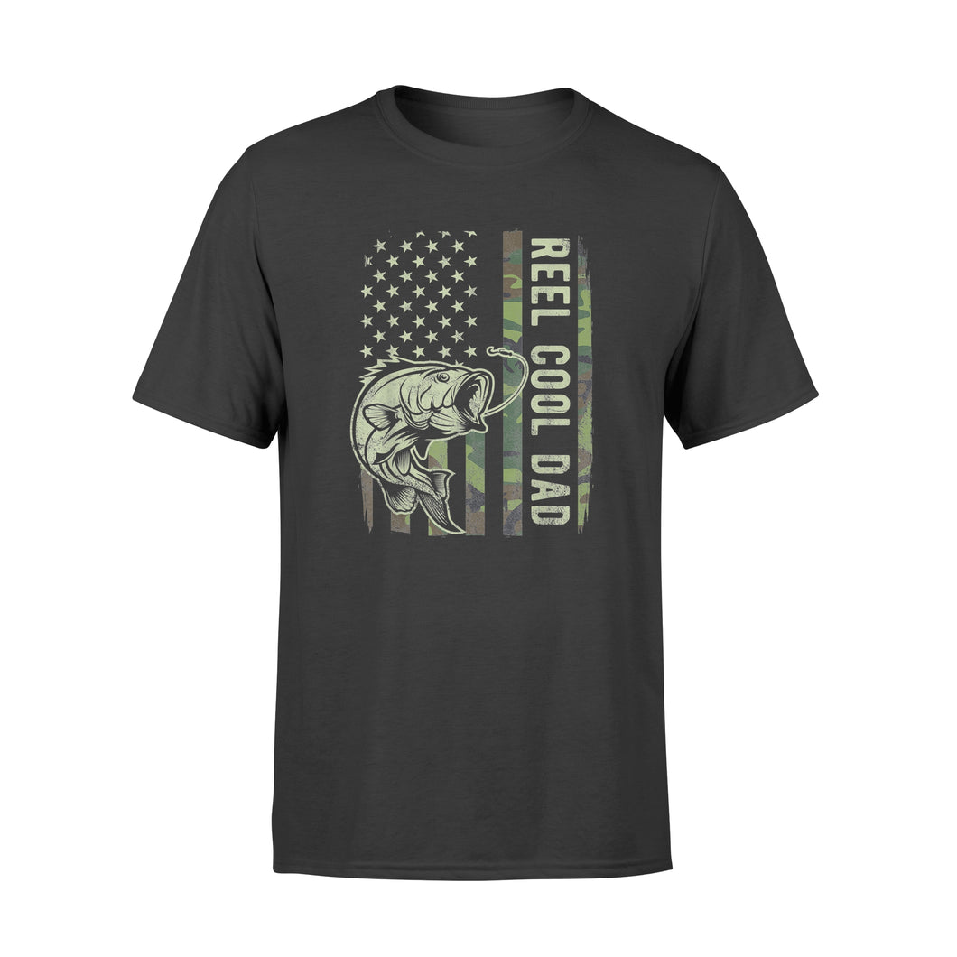Reel Cool Dad Camouflage American Flag Father's Day Gift T-Shirt - Standard T-shirt