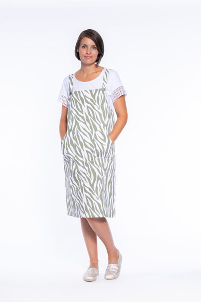 Stretch Cotton Pinafore in Zebra Print