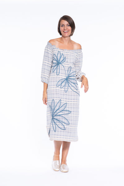 Tape Embroidery Stripe OTS Dress in Blue\Cream