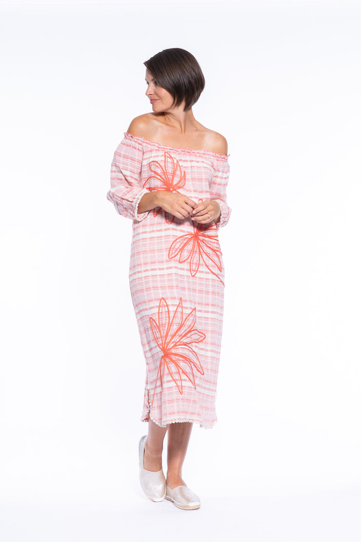 Tape Embroidery Stripe OTS Dress in Coral\Cream
