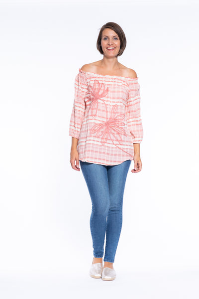 Tape Embroidery Stripe OTS Top in Coral\Cream