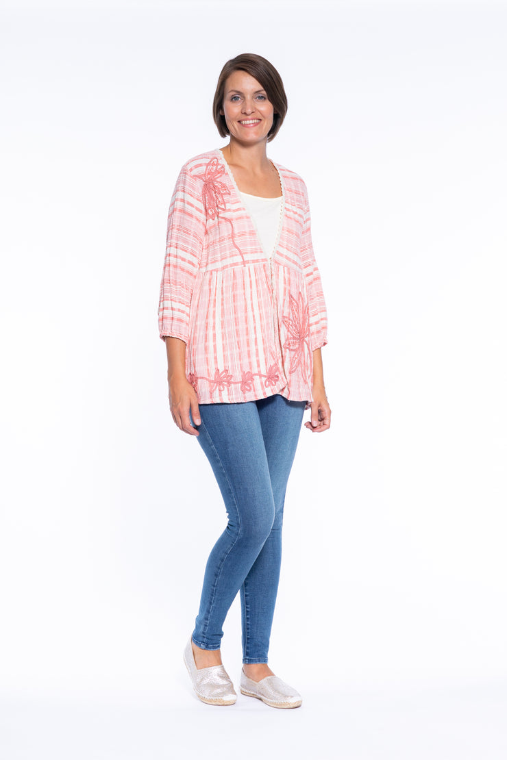 Tape Embroidery Tie Front Cardigan in Coral\Cream