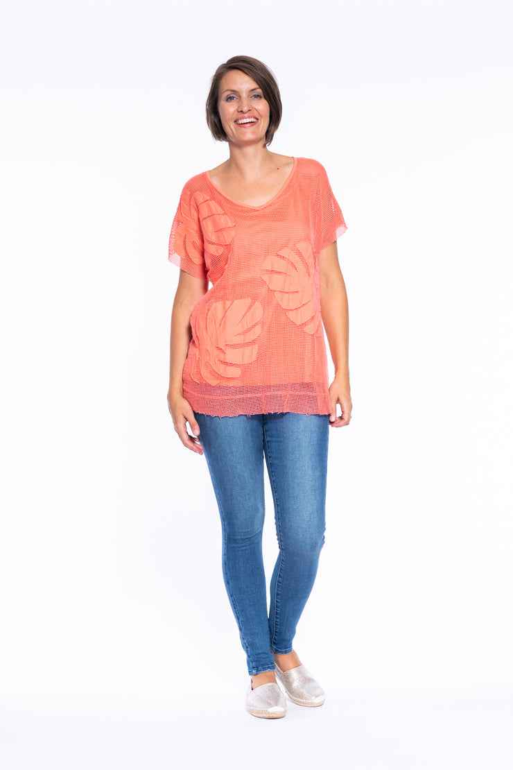 Cotton Mesh Drop Shoulder Top with Singlet in Coral
