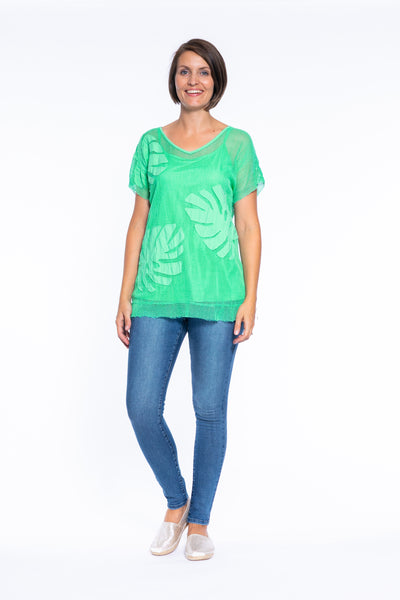 Cotton Mesh Drop Shoulder Top with Singlet in Jade