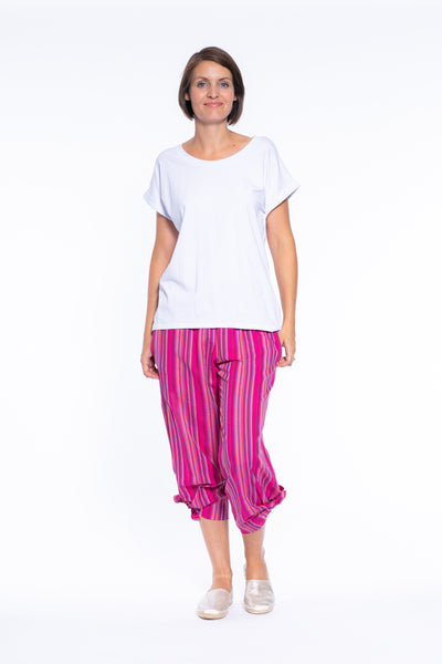 Stripe Cotton Pull On Tie Side Pant in Pink