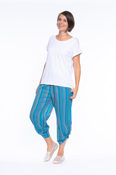 Stripe Cotton Pull On Tie Side Pant in Blue