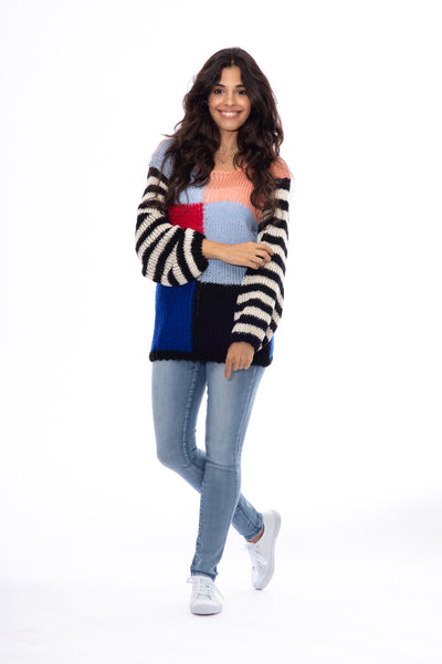 Knitted Colour Block  Long Sleeve Jumper
