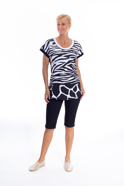 Zebra Print Stretch Cotton Tee