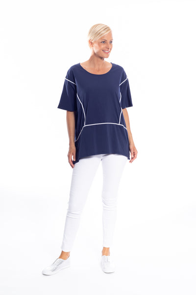 Relaxed Cotton Spandex Poncho\Top with Pipping in Navy