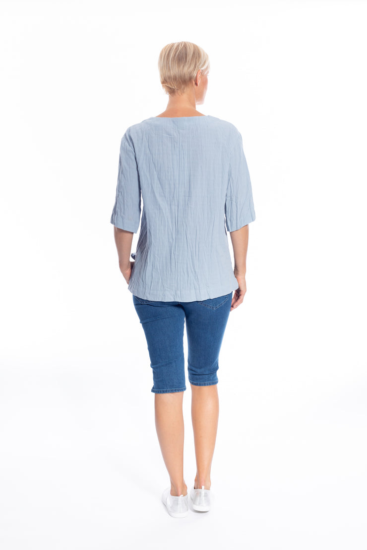 V Neck Cotton\Linen Top in Denim