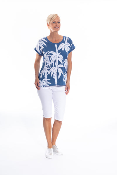 Bamboo Print Stretch Cotton Tee in Denim