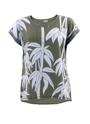 Bamboo Print Stretch Cotton Tee in Khaki
