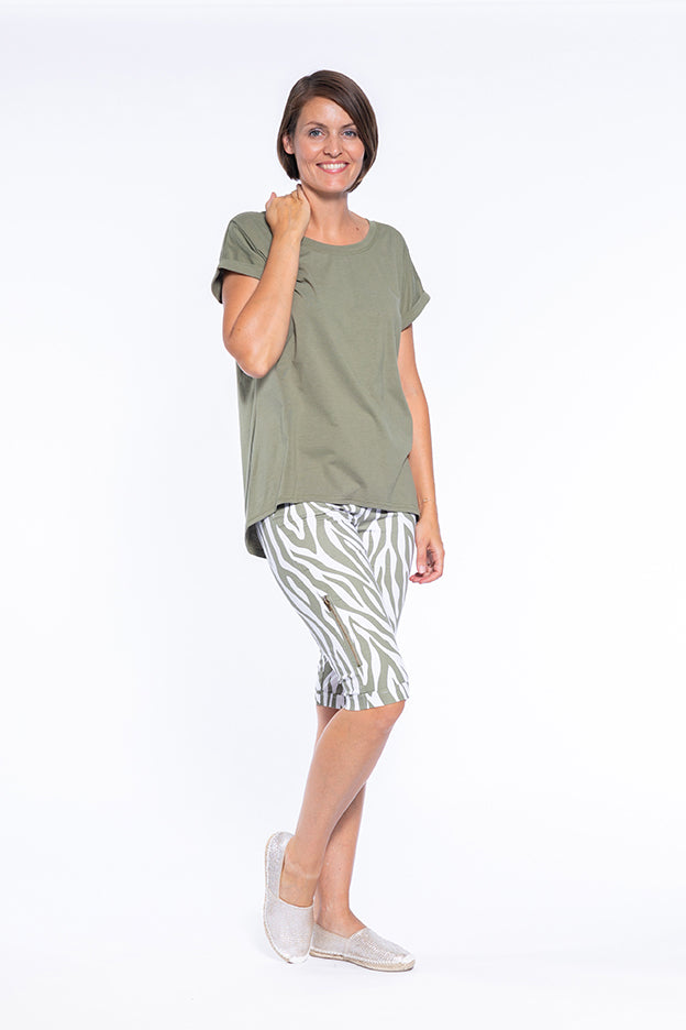 Khaki Zebra print Knee Length Short with Zipper Detail