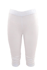 Stretch Bengaline Pull-On Knee Length Tights in White