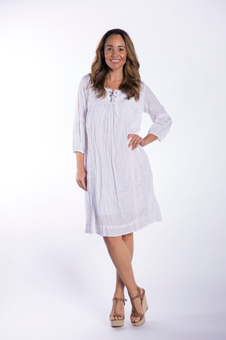 Crushed White Linen Cotton Dress with Cotton Slip