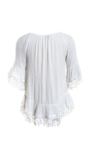 Crinkle Rayon OTS Top with Lace Trim