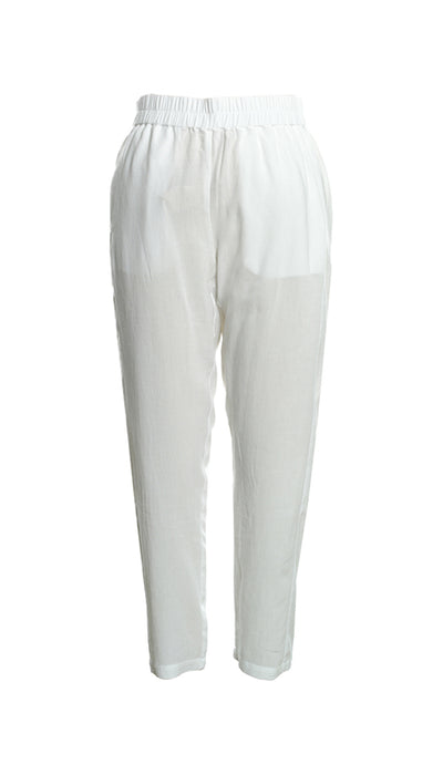 Viscose Pant with Side Pockets in White