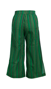 Stripe Cotton Pull On Tie Side Pant in Green
