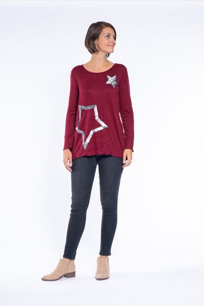 Long Sleeve 2 Star Sequin Top in Burgundy
