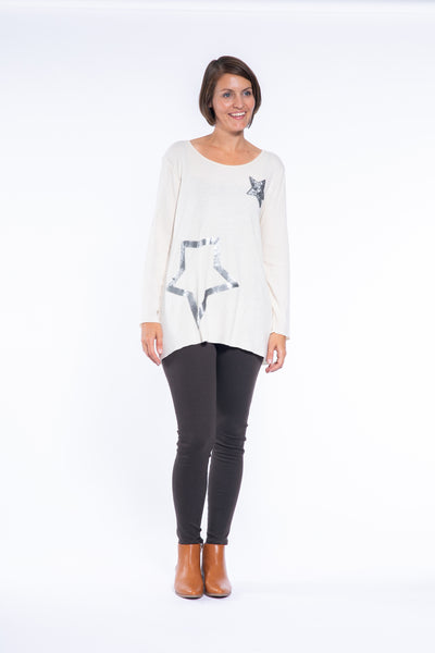 Long Sleeve 2 Star Sequin Top in Cream