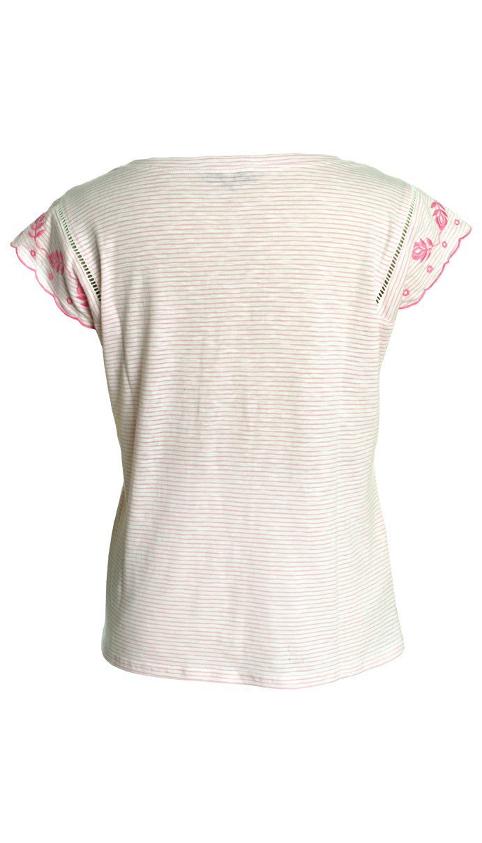 Cap Sleeve Stripe Tee with Embroidery in Pink\White
