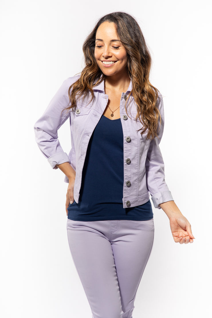 Long Sleeve Stretch Jean Jacket in Lilac
