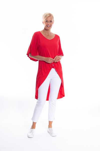 Twist Front Detail Hi-lo Top in Red