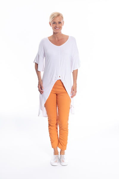 Twist Front Detail Hi-lo Top in White