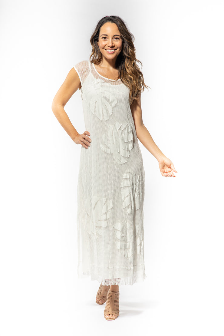 Cotton Mesh Leaf Applique Midi Dress with Slip in Ivory