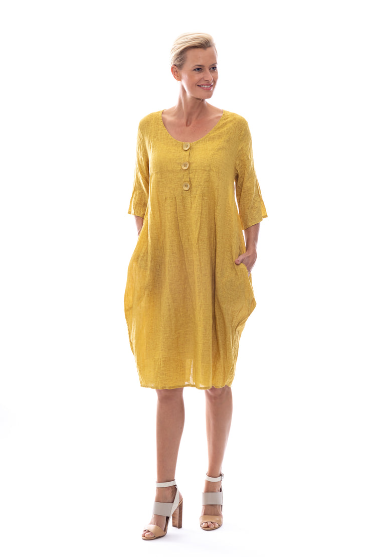 Linen\Cotton Button Front Dress with Pockets & Slip in Mustard