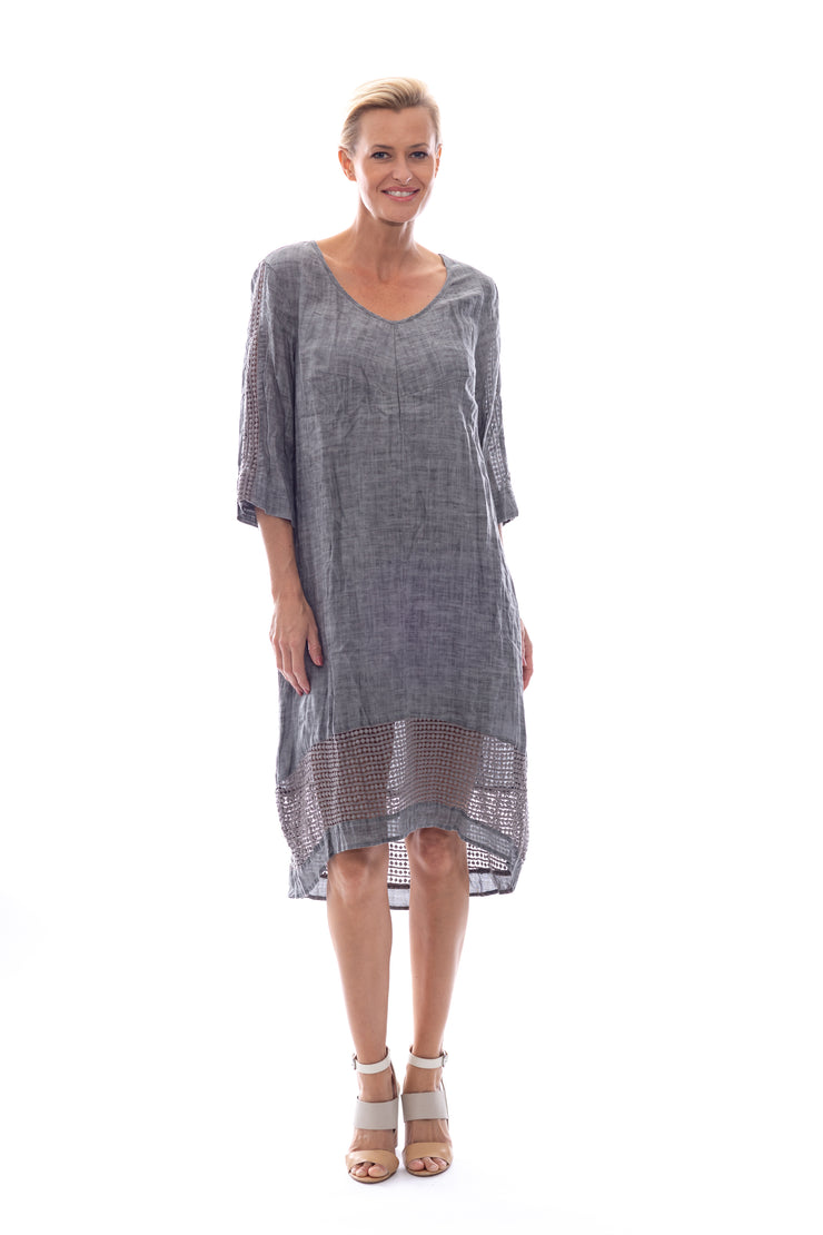 Linen\Cotton V Neck Dress with Lace Trim & Slip in Charcoal