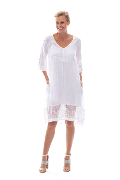 Linen\Cotton V Neck Dress with Lace Trim & Slip in White