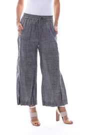 Pull On Linen 7/8th Pant with Split Front in Charcoal