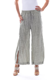 Pull On Linen 7/8th Pant with Split Front in Khaki